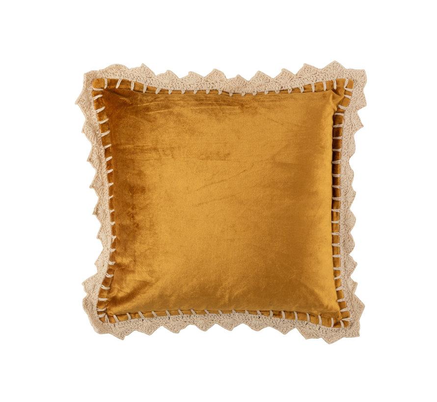 Cushion Square Shiny Ocher - Beige