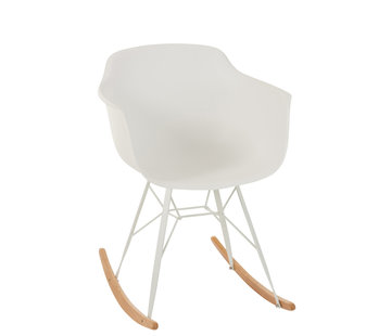 J -Line Rocking chair Pastel Metal Plastic - White