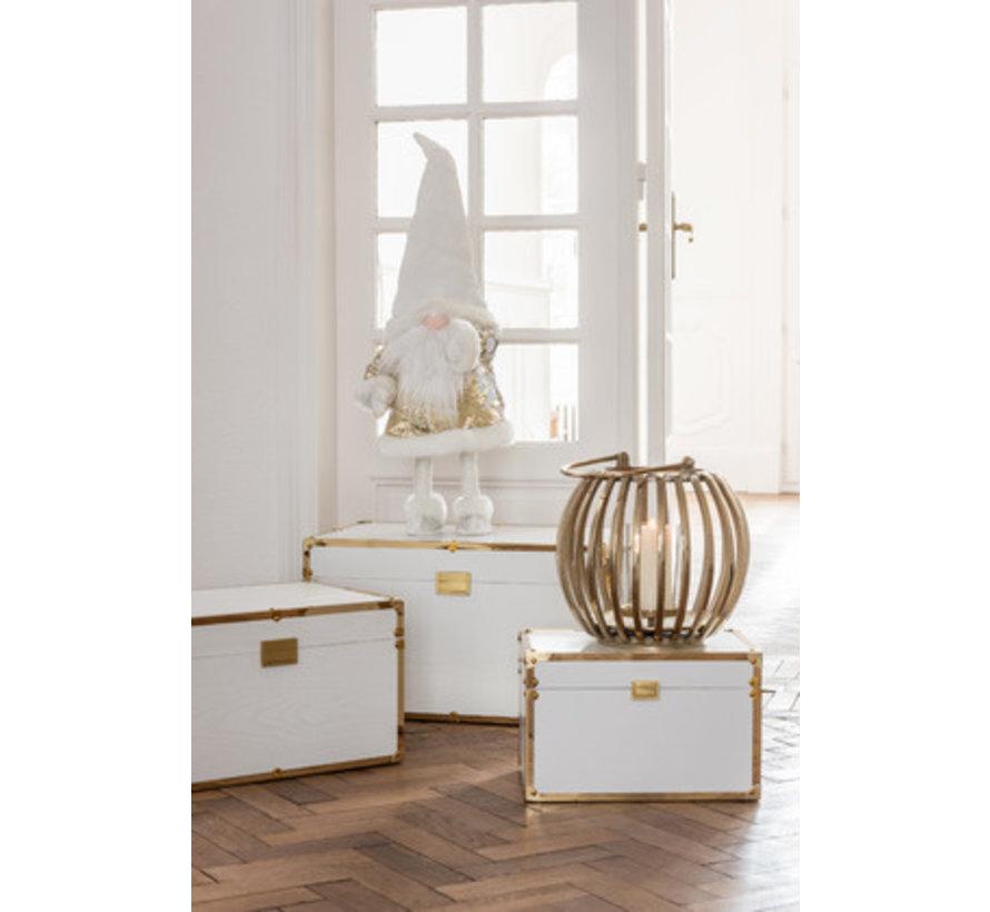 Storage cases Rectangle Wood Textile Metal White - Gold