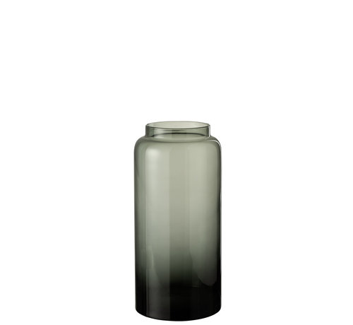 J -Line Flessen Vaas Laag Glas Grijs Small
