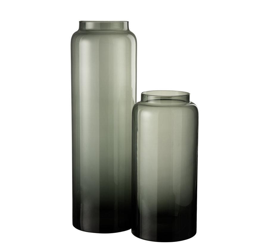 Flessen Vaas Laag Glas Grijs Small