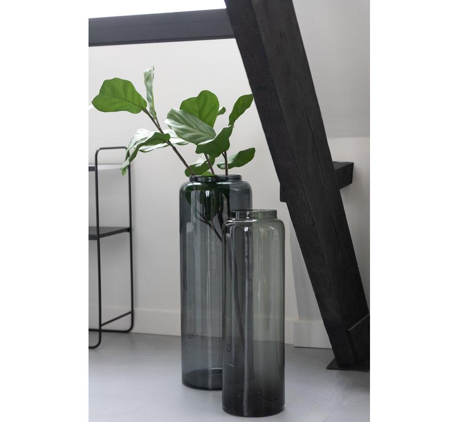Bottles Vase Low Glass Gray Small