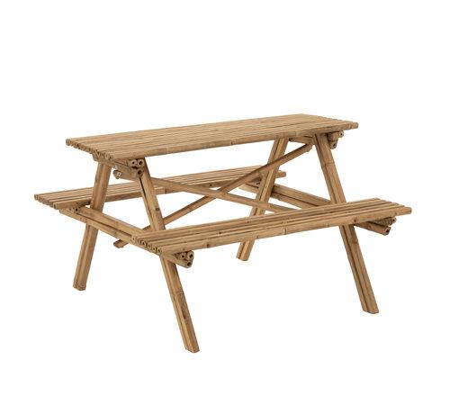 J-Line Picnic table Bamboo Natural Brown