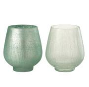 J -Line Tealight holders Crackle Glass Green - Large