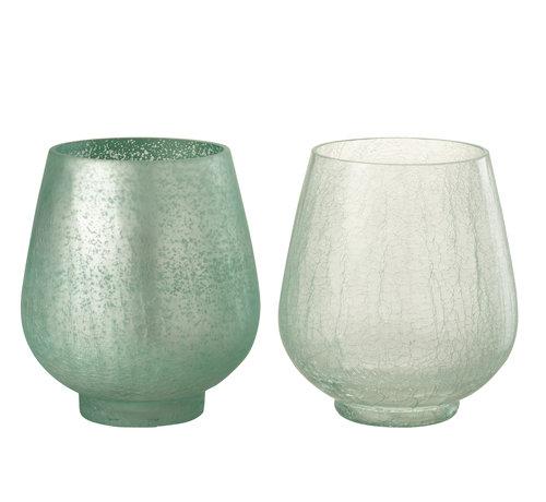 J -Line Theelichthouders Craquelé Glas Groen - Large