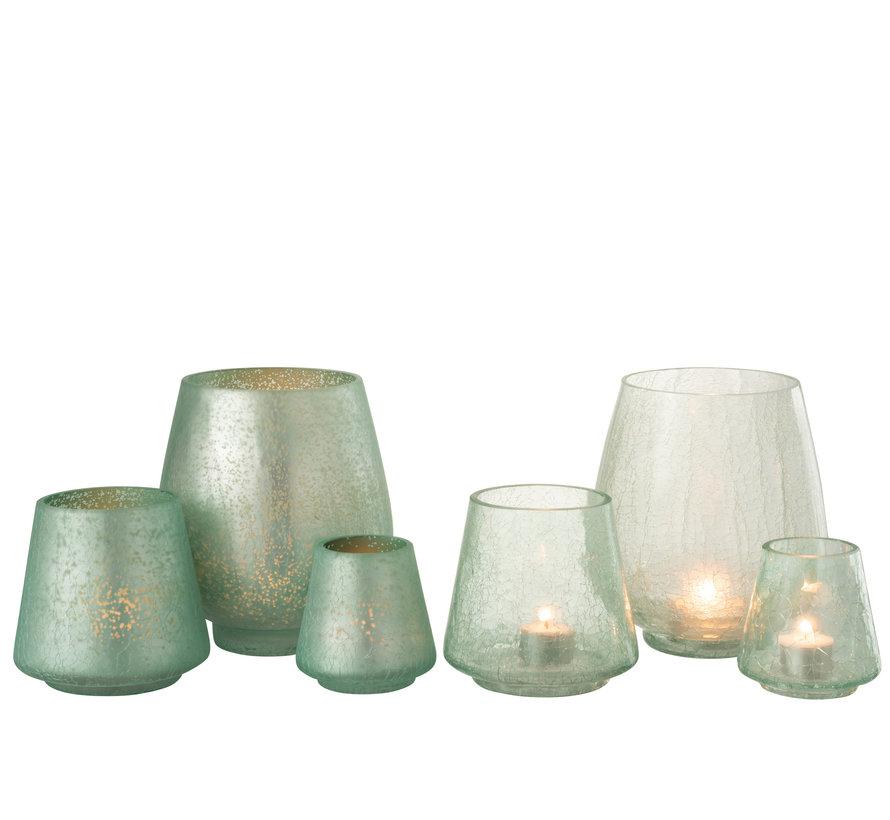 Theelichthouders Craquelé Glas Groen - Large