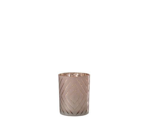 J-Line Theelichthouder Zigzag Roze Medium