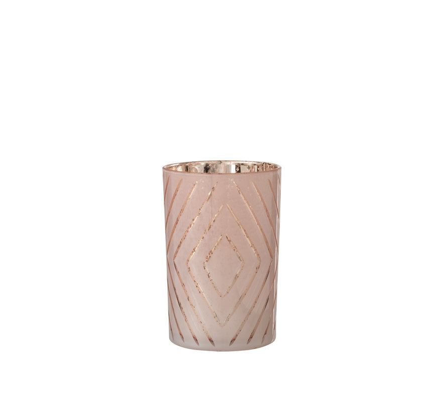 Theelichthouder Zigzag Roze Large