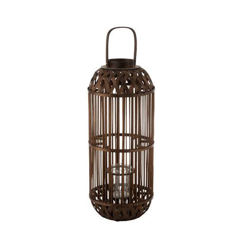 J -Line Lantern Candle Bamboo Large
