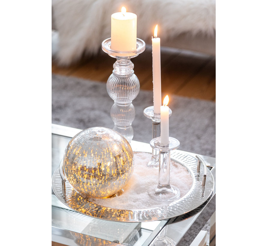 Candlestick Glass Clear Transparent - Large