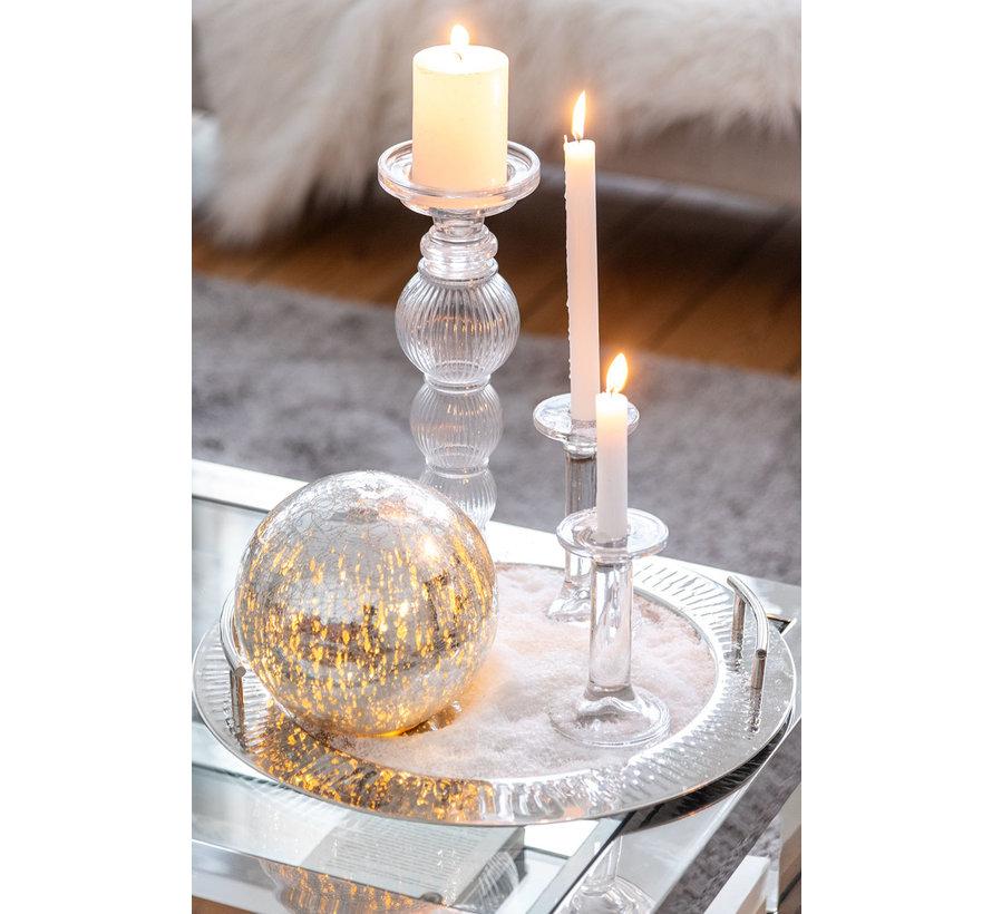 Candlestick Glass Ball Transparent - Small