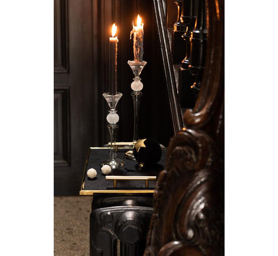 Candlestick Glass Sugar Bowl Transparent - Large