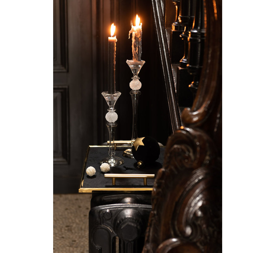 Candlestick Glass Sugar Bowl Transparent - Medium