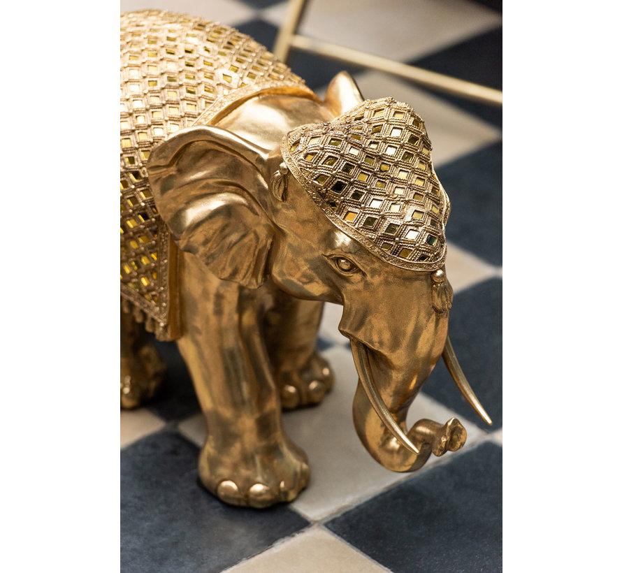 Decoratie Beeld Olifant Spiegel Goud - Extra Large