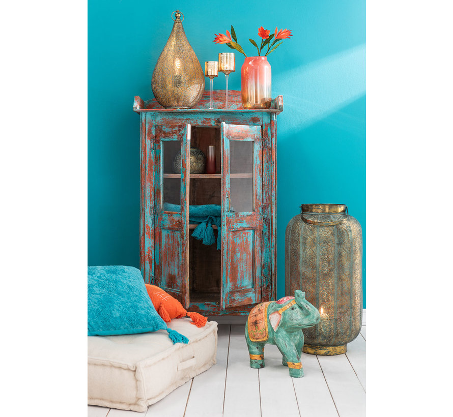 Decoratie Olifant Indisch Poly Oranje Turquoise - Small