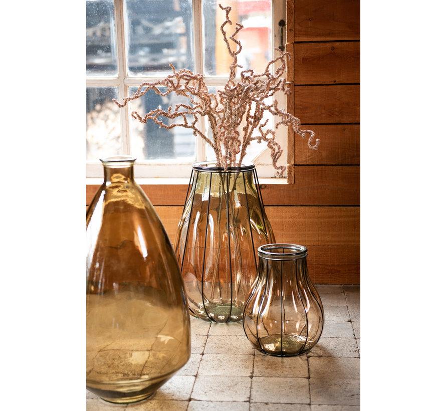 Flessen Vaas Glas Breed Transparant Bruin - Medium