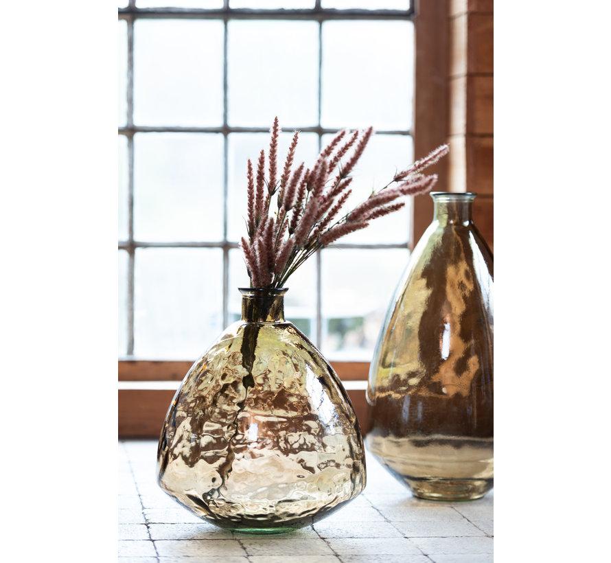 Bottle Vase Glass Uneven Transparent Brown - Small