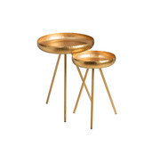 J -Line Side tables Round Ironwork - Gold