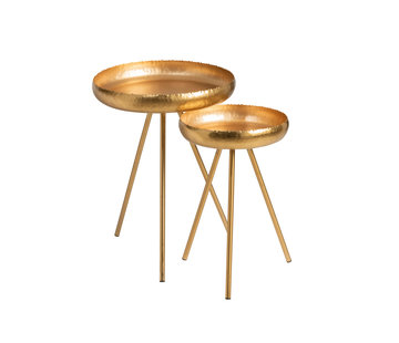 J -Line Side tables Round Ironwork Gold