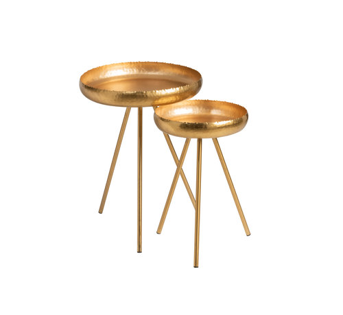 J-Line Side tables Round Ironwork Gold