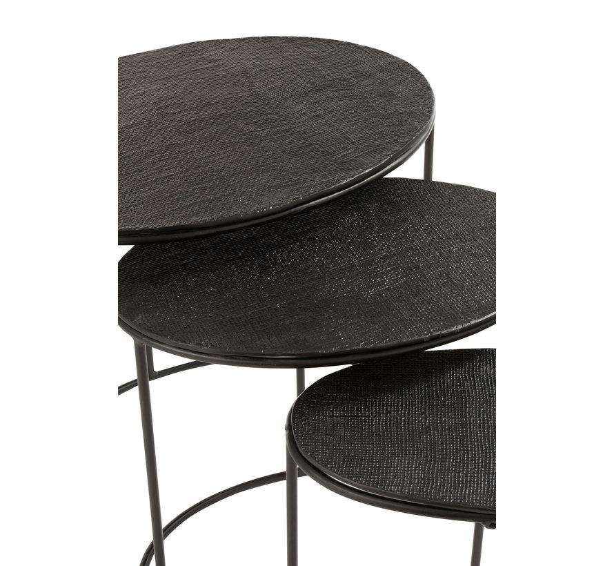 Bijzettafels Ovaal Aluminium Zwart