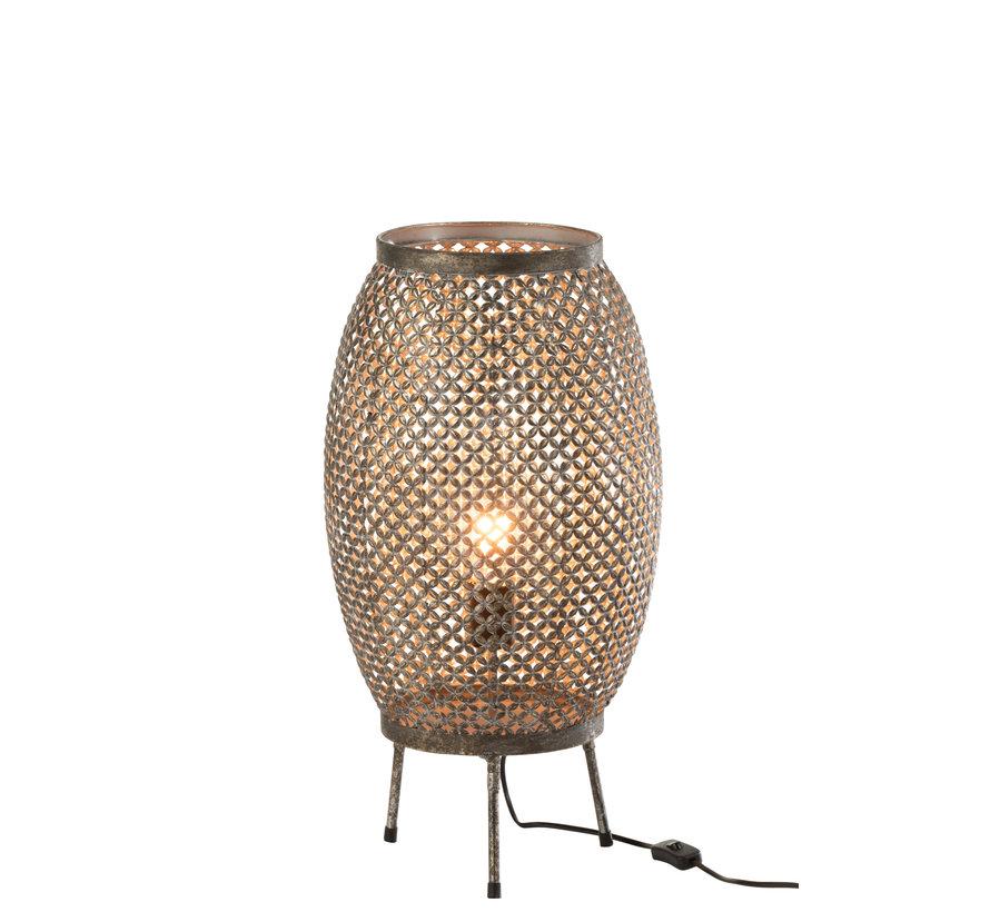 Staande Lamp Bloemen Metaal - Grijs