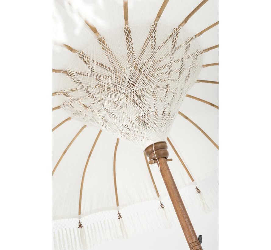 Parasol Kwastjes Katoen Wit Bruin