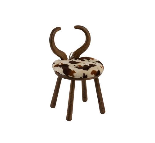 J-Line  Chair Cow Horns Wood Brown