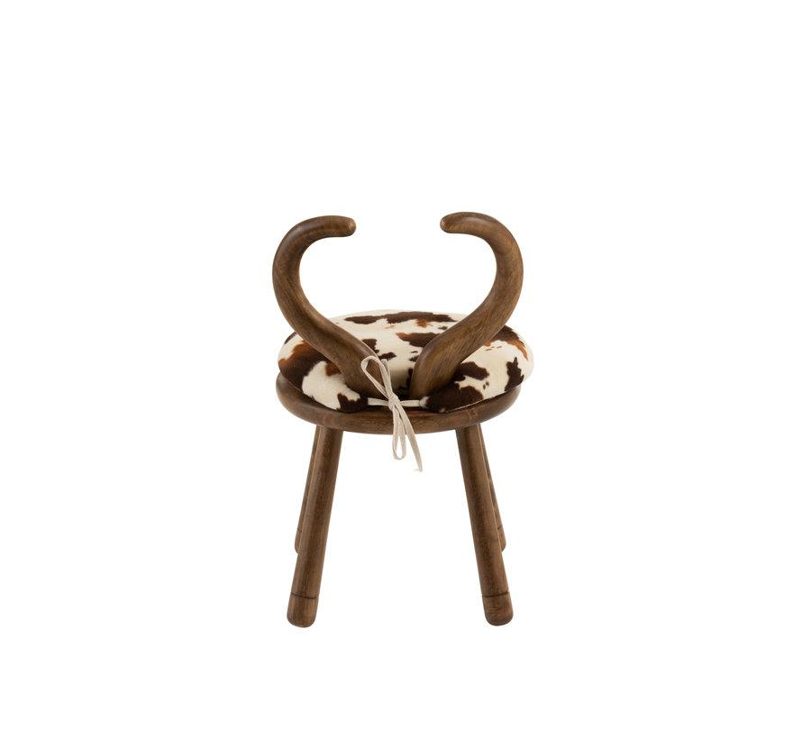 Chair Cow Horns Wood Brown