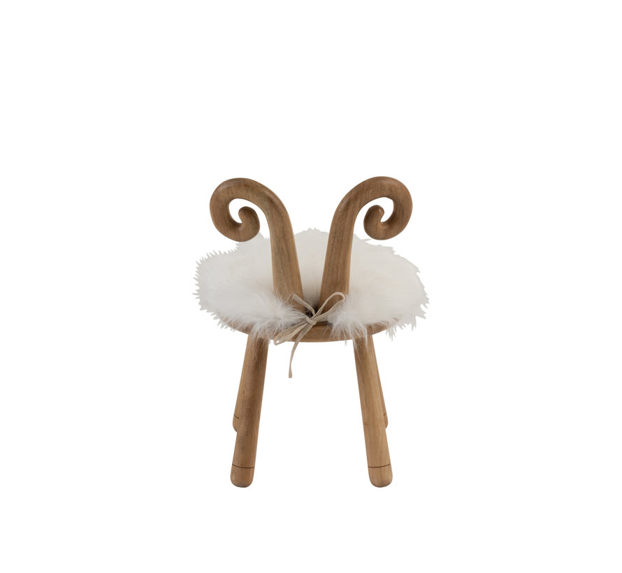 Chair Sheep Horns Wood Natural