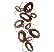 J-Line Wall Decoration Oval Circles Brown Large