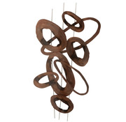 J-Line Wall Decoration Oval Circles Brown Small
