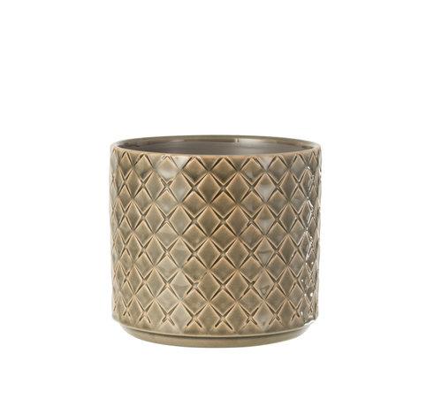 J -Line Flower Pot Diamonds Dark Gray Large