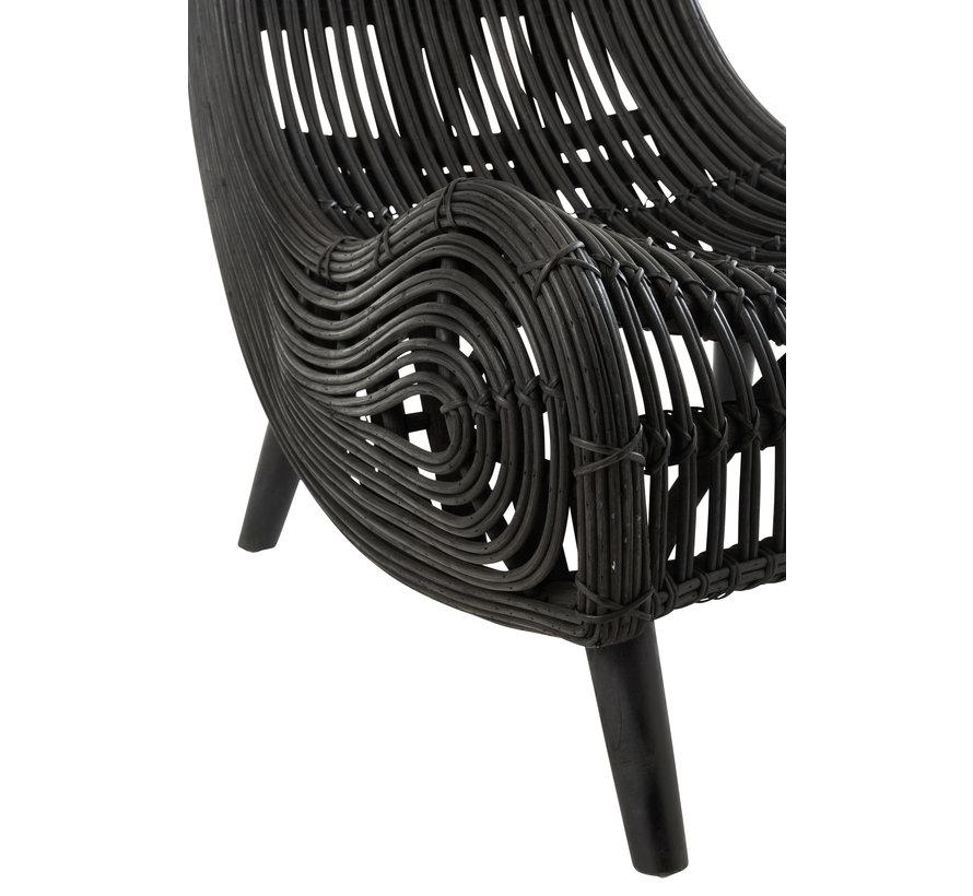 Deckchair Rural Rattan Black