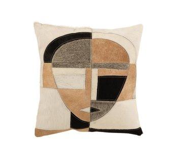 J-Line Cushion Square Ethnic Leather