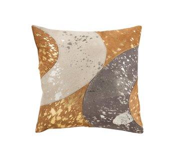 J-Line Cushion Square Semi Circles Leather