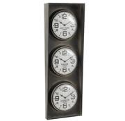 J-Line Wall Clock Three Cities Black