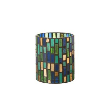 J-Line Theelichthouder Glas Groen Medium