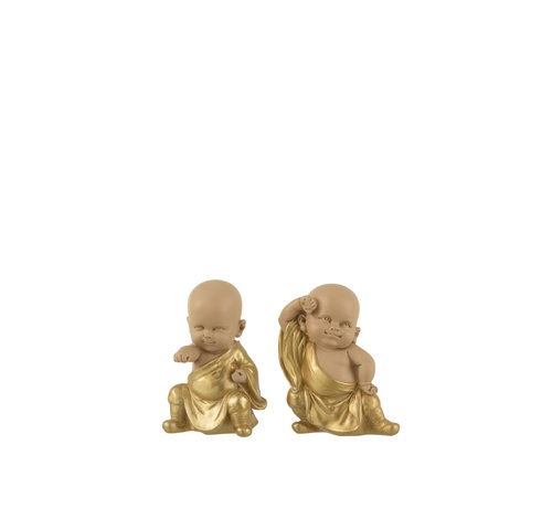 J-Line Decoration Monks Fight Art Gold