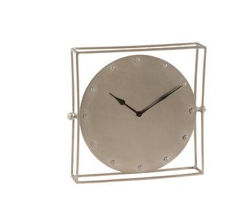 J-Line Table Clock Square Silver Large