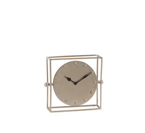 J-Line Table Clock Square Silver Small