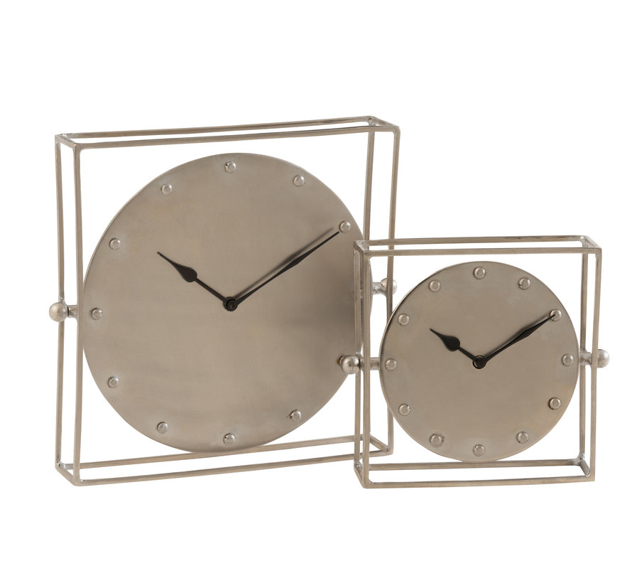 Table Clock Square Silver Small