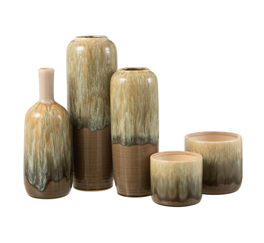 Bottles Vase Beige Ceramic Small