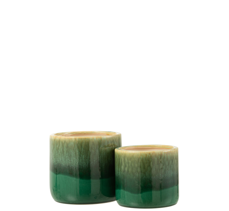 Flowerpot Green Ceramic Large