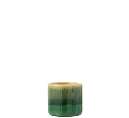 J-Line Flower Pot Green Ceramic Small