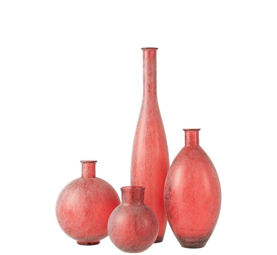 Bottles Vase Red Sphere Glass Large