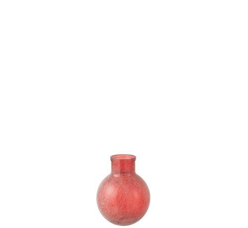 J-Line Bottles Vase Red Sphere Glass Small