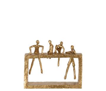 J-Line Decoratie Vier Figuren Klimmend Goud