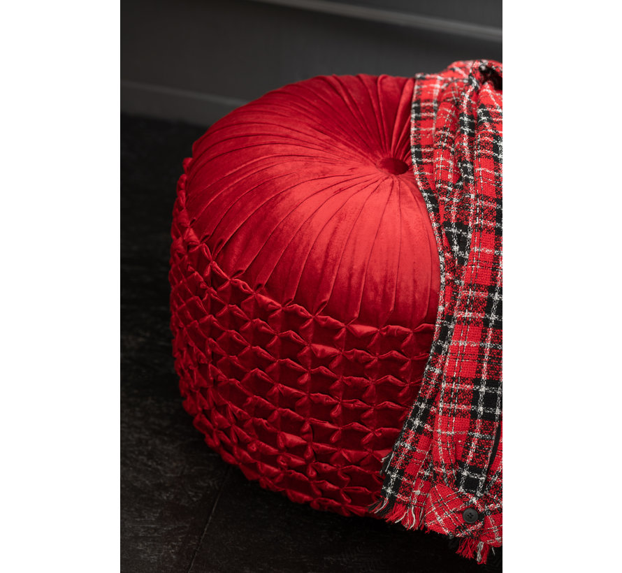 Pouf Round Modern Red