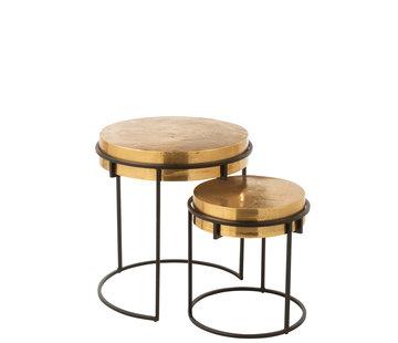 J-Line Side Tables Round Aluminum Gold